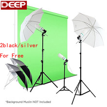 525 W Photographie Photo Portrait Studio Lumière du Jour Parapluie D'éclairage Continu Kit Translucide Blanc & Noir/argent