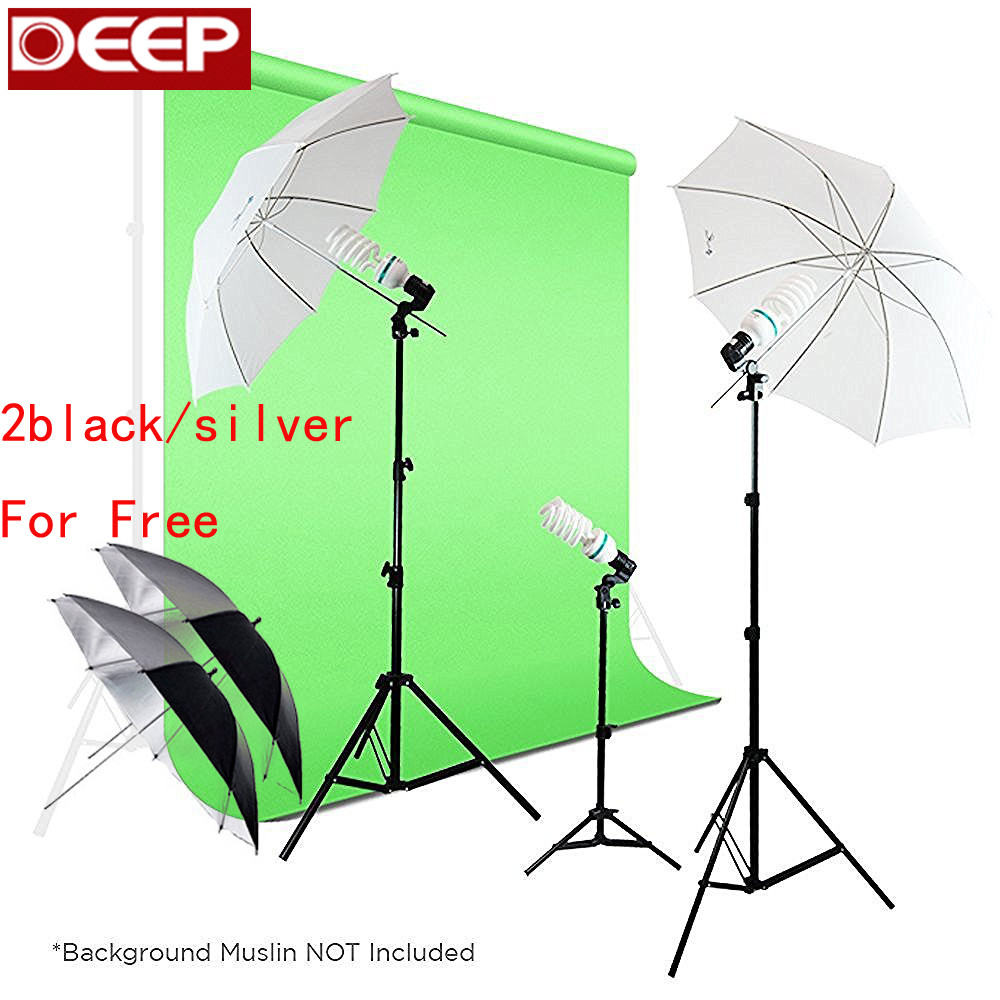 525W Photography Photo Portrait Studio Day Light Umbrella Continuous Lighting Kit Translucent White & Black/silver