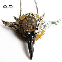 steampunk punk big bird skull skeleton wings mechanical watch movements gear pendant chain brooch pins men women vintage jewelry