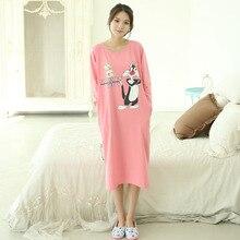 New Autumn Women Cotton Nightgowns Home Dress Cartoon Sleepwear Nightdress Sleepshirts for girls women Plus Size 2XL