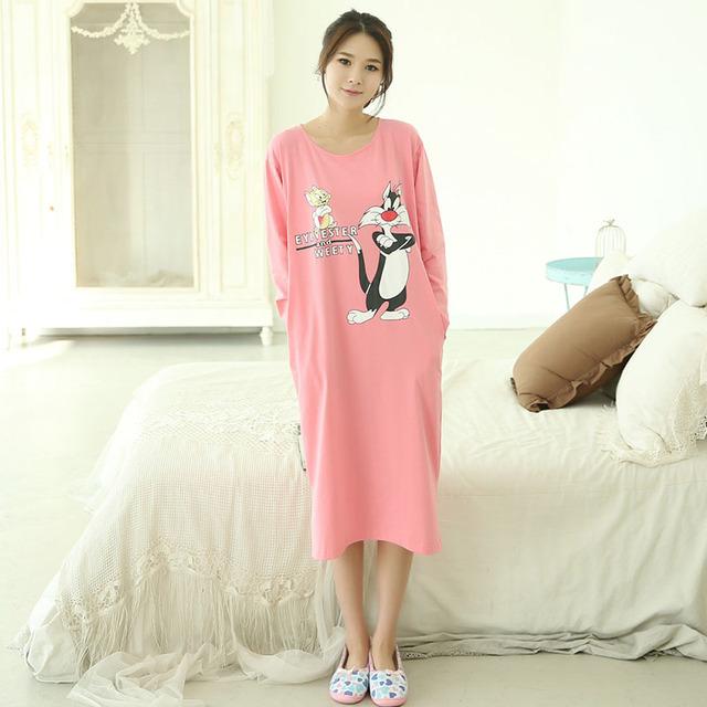 New Outono Mulheres Camisolas De Algodão Vestido de Casa Dos Desenhos Animados Pijamas Camisola Sleepshirts para as mulheres meninas Plus Size 2XL