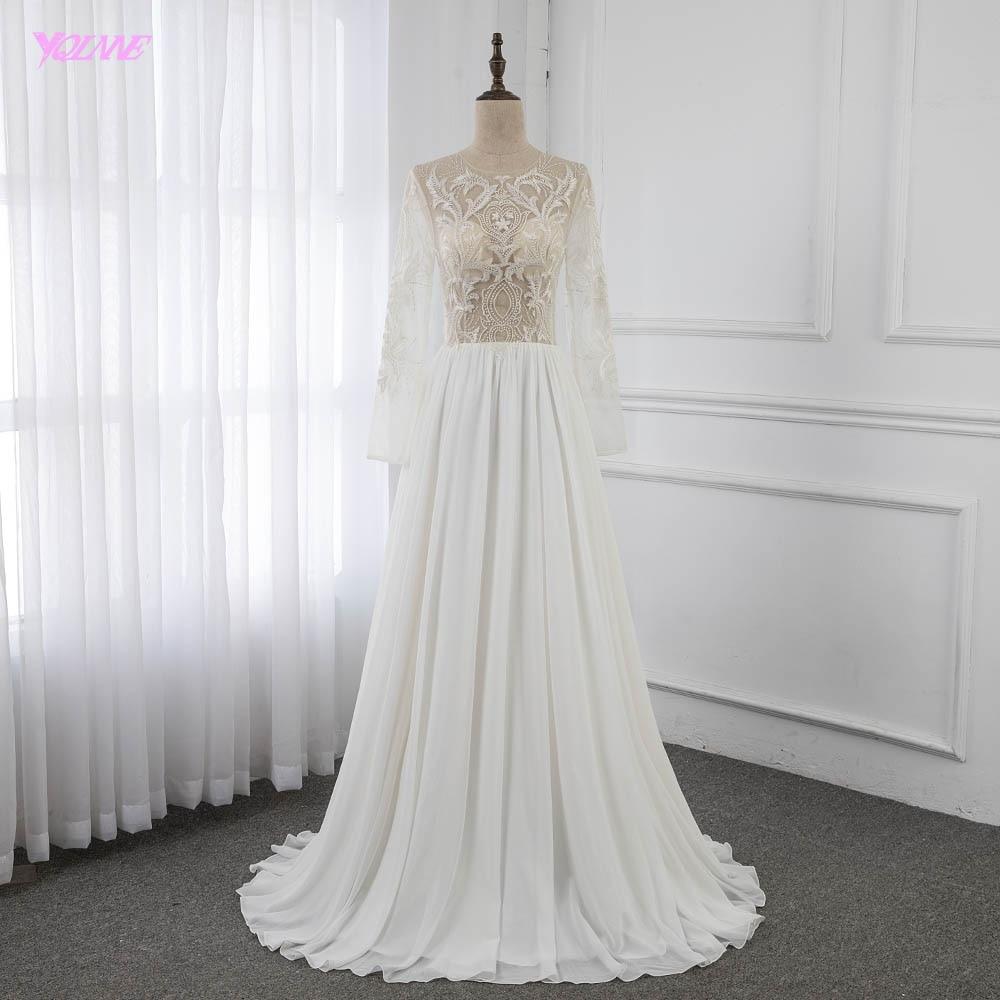 Sexy See Through Full Sleeve Wedding Dress Embroidered Crepe Floor Length Vestido De Noiva YQLNNE
