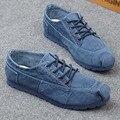 2016 Джинсовой Холст Повседневная Обувь на Плоской Удобные Низкие Мужские Дышащий Повседневная Обувь