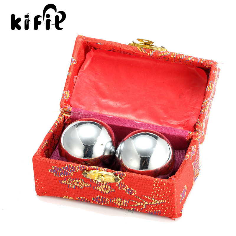 KIFIT 2X Chinese Baoding Balls Fitness Handball Health Exercise Stress Relaxation Therapy Chrome Hand Massage Ball 38mm 2pcs lot natural massage jade stone hand ball rolling exercise meditation stress relief fitness health healing reiki balls