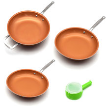 Sweettreats A Set 8/10/12 inch Non-stick Copper Frying Pan +1 pc  Food Sealing Clip