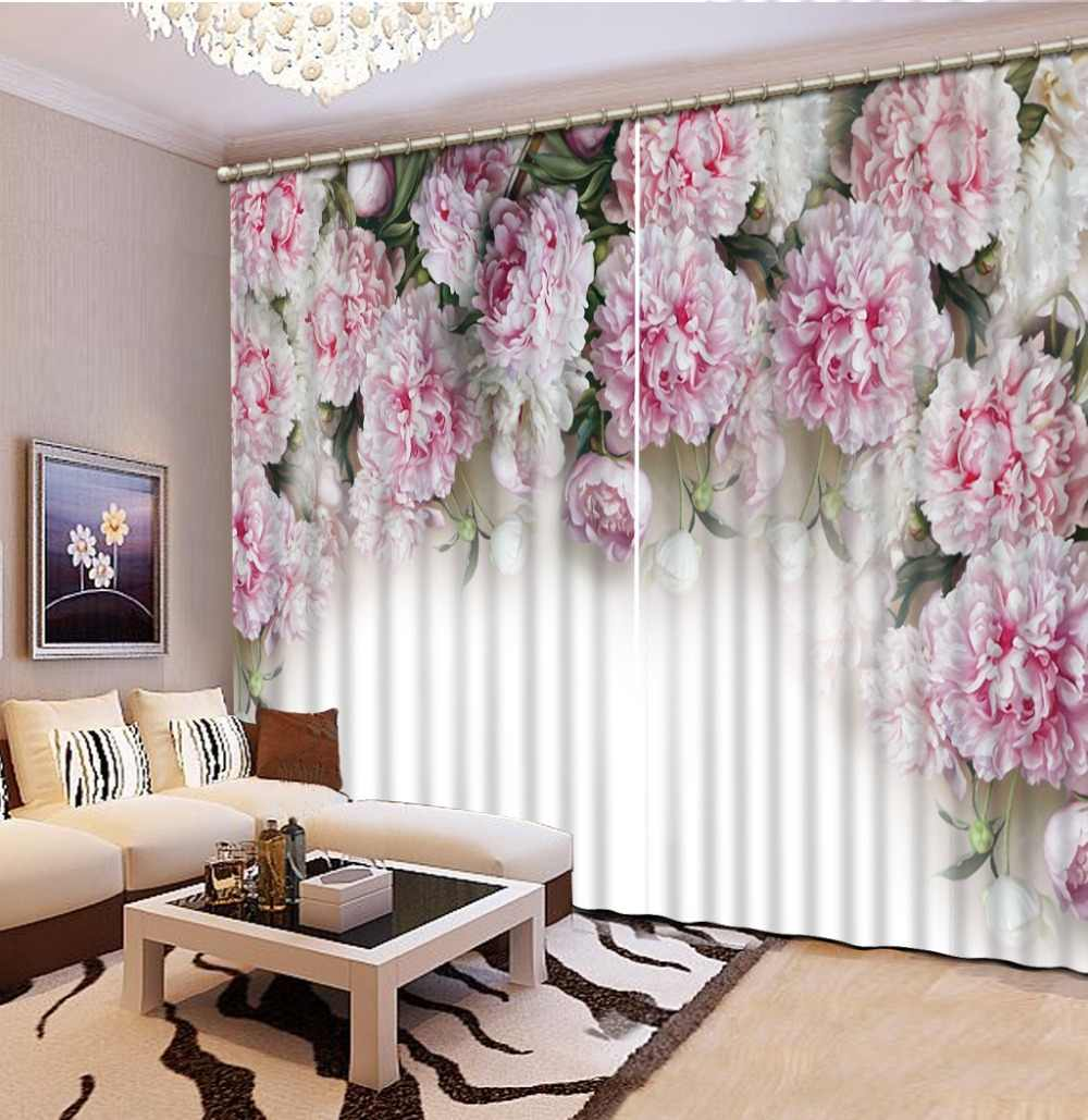 European style Custom Modern Luxury 3D Flower Photo Blackout Curtains For Living room Hotel Window decoration curtain