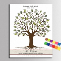Wedding Fingerprint Signature Thank You Tree Canvas Painting Graduation Party Decor Creative Guest Book