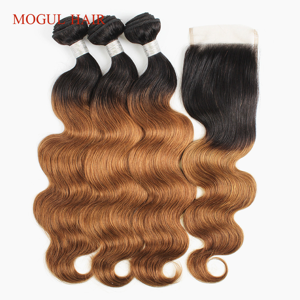 MOGUL HAIR Color 1B 30 Ombre Bundles with Closure 2 3 Bundles Auburn Brown Hair Brazilian