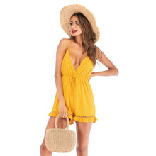 rompers womens jumpsuit shorts summer 2019 backless halter v-neck yellow playsuit one piece outfit sexy ruffle beach romper 6024(China)