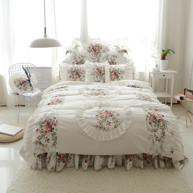 Korean Style Bedding Set Three-dimensional Flower Print Duvet Cover Ruffle Bed Sheet Princess Wedding Bedroom Textile 4/6pcs