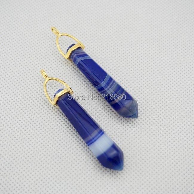 C02P02047 синий кружево Агаты точечная подвеска Исцеление чакры в рейки и подвеска-маятник с золотой или серебряной залог 55 мм