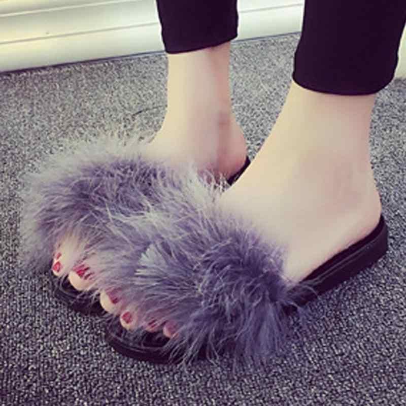 4ffefd44077 Fur Furry Slide Sweet Feather Thick Bottom Beach Female Sandals Hair Flip  Flops Women Home Slippers