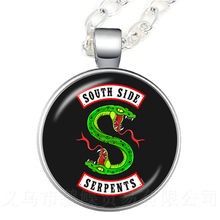 Riverdale South Side Serpents Pendant Necklace 25mm Glass Dome Cabochon Sweater Chain For Women Men Kids Jewelry Gift(China)
