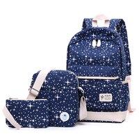 Fresh Canvas Women Backpack Big Girl Student Book Bag With Purse Laptop 3pcs Set Bag High