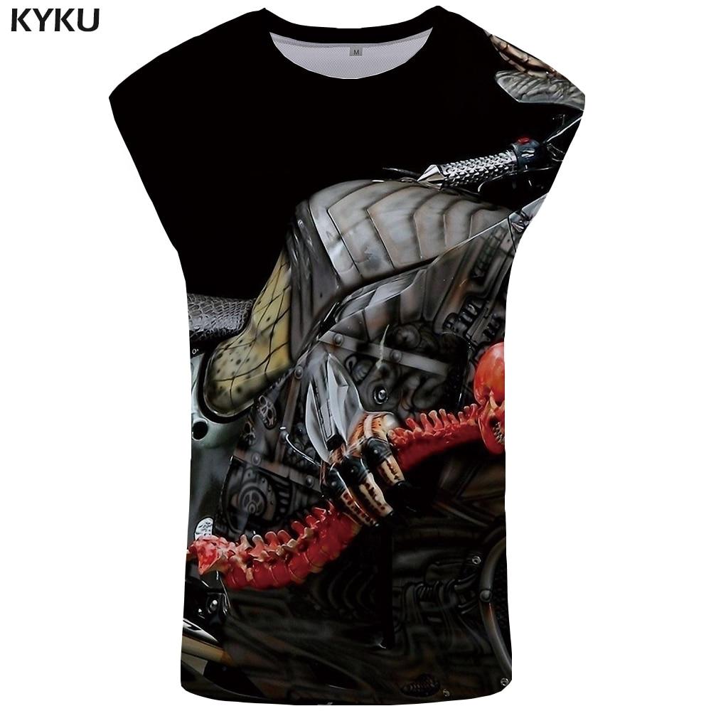 KYKU Skull   Tank     Top   Men Motorcycle Undershirt Punk Rock Vest Ftness Mens Clothing Stringer Tanktop Anime Sleeveless Shirt 2018