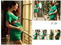 2016 Новый Фотография Реквизит одежда для беременных женщин Шифоновое платье Беременность Зеленый элегантный Сексуальный комплект Бесплатная доставка