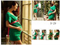 2016 New Photography Props clothing for pregnant women Chiffon dress Pregnancy Green elegant Sexy set  Free shipping