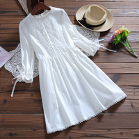 2017 Spring Summer Women Cute White Mini Dress Lovely Pure Color Half Butterfly Sleeve Dress High