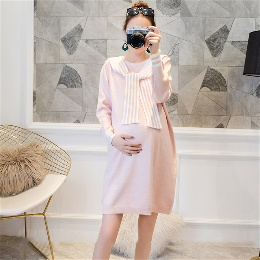 Autumn Winter Pregnancy Clothes Long Sleeve Basic Knitted Dress Long Loose Cotton Dress Maternity Casual Women Dresses 70R0184 embroidered casual loose knitted dress flower long sleeved dress o neck line plain dresses fall casual dresses