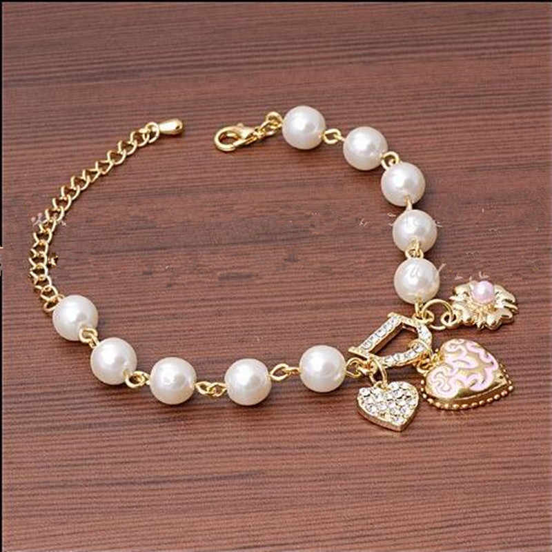 2018 New Sweet And Lovely Imitation Pearl Beads Fashion Crystal Bracelet Heart Flowers Letter D Hang Bracelets And Anklets women