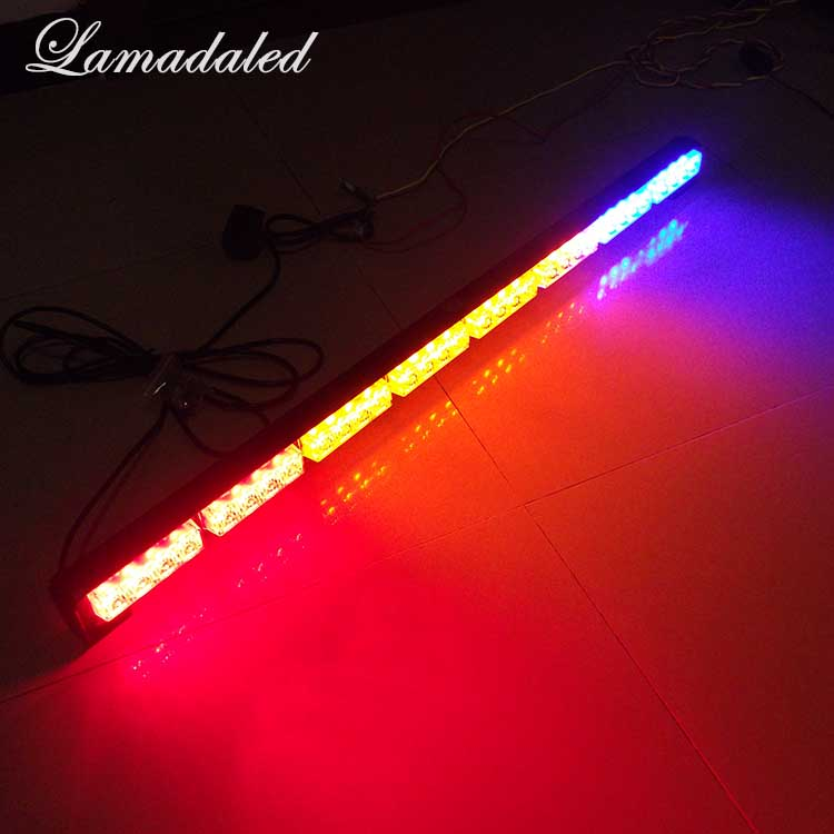 Lamadaled DC12V 34inch 86CM red blue amber 32led Police vehicle strobe light bar emergency truck car bumper flash warning lamp 4 led 12 24v car strobe flash light white red amber light vehicle truck rear side light car emergency warning lamp drop shipping