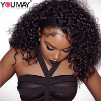 Full Lace Human Hair Wigs 130 Density Kinky Curly Wig Pre Plucked Full Lace Wig Bleached Knots Brazilian Non remy Hair You May