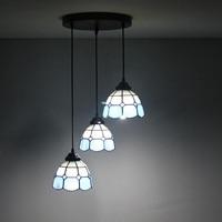Mediterranean Blue 3 Heads Stained Glass Western Style Restaurant Pendant Lights 110 240V Dia43CM Bar Three