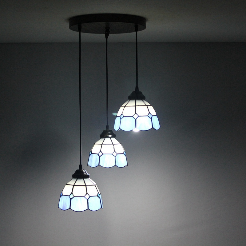 Mediterranean Blue 3 heads Stained glass Western style Restaurant Pendant Lights 110-240V Dia43CM bar Three pandant lamps E27