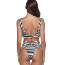 Womens High Waist Bikini Set Bandage Bow Monokini Swimwear Women Red Black Striped Swimsuit Bathing Suit