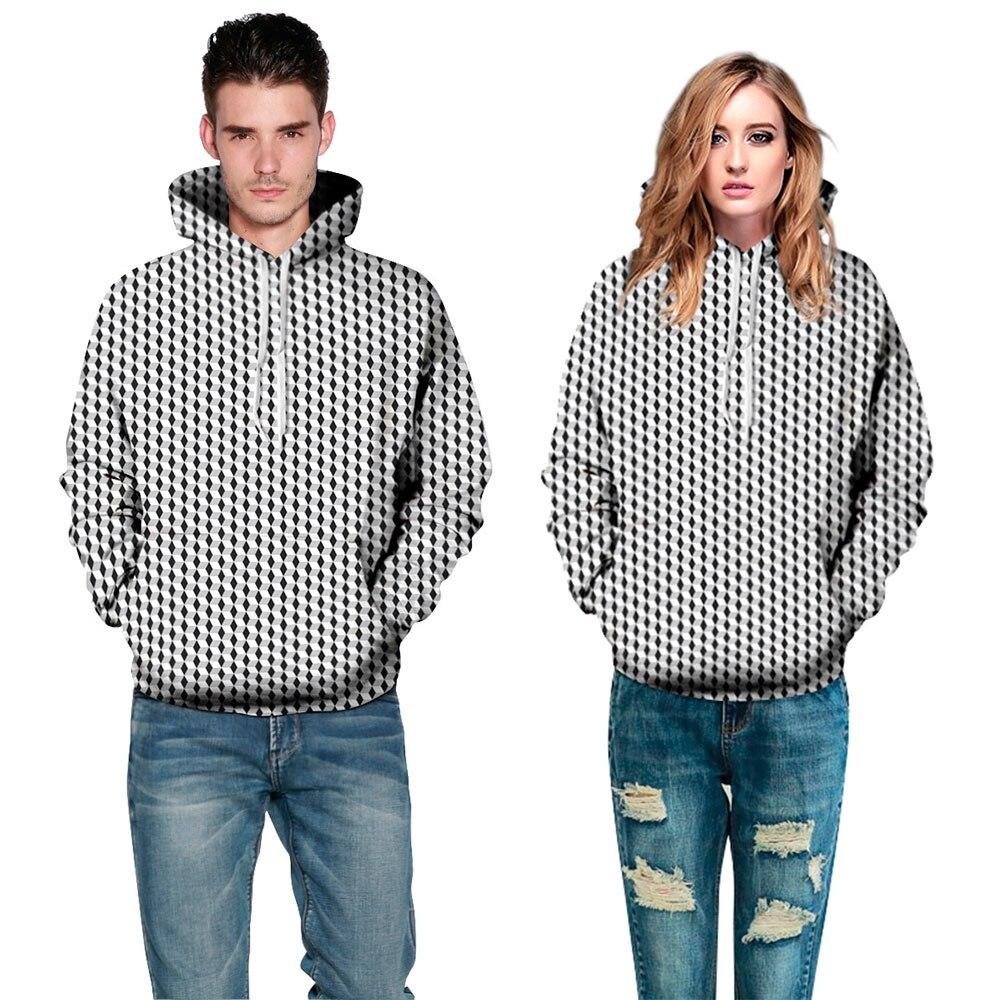New 3D Rhombus Printed Hoodies Sweatshirts Black White Cube Casual Hoodie Men Women Lover Pullover Tracksuit Sweetheart Clothing