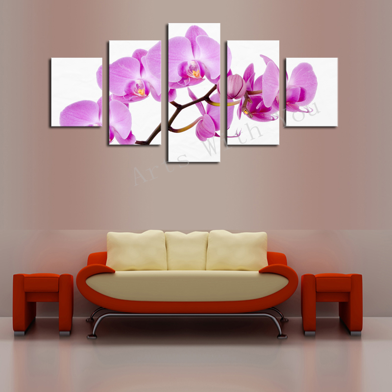 Unframed 5 panels nature red flowers canvas print painting modern canvas wall art for wall decor home decoration artwork in painting calligraphy from home
