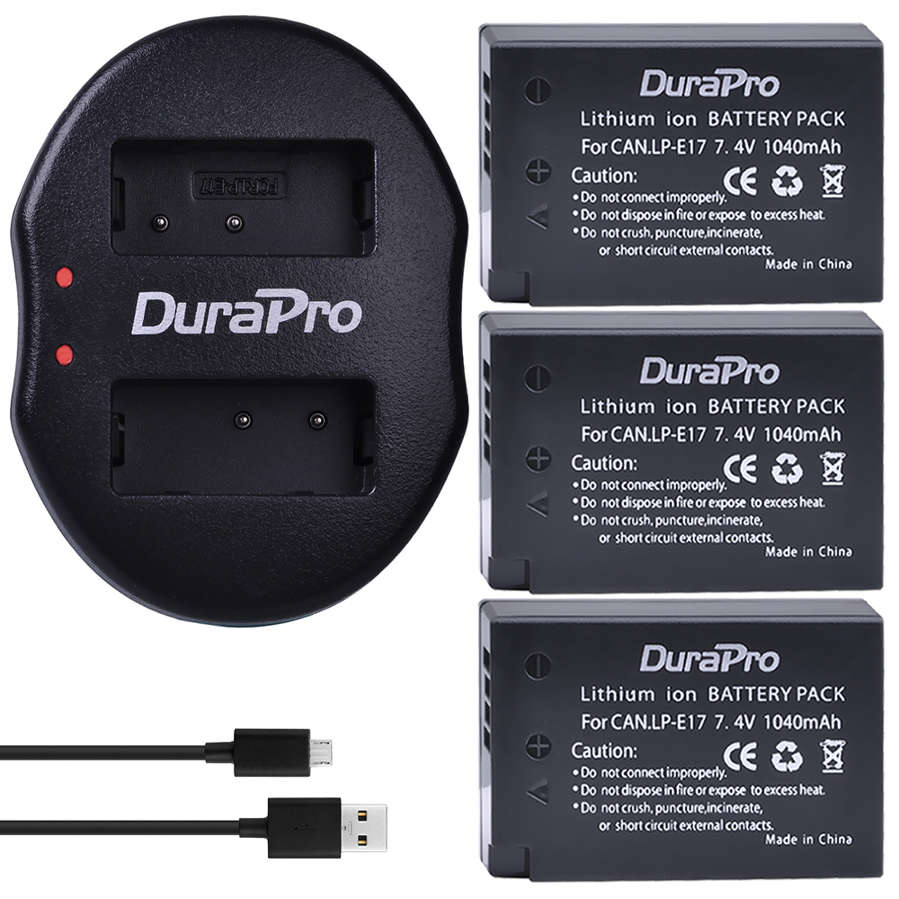 3PCS LPE17 LP E17 LP E17 Li ion Battery + USB Dual Charger for Canon EOS 200D M3 M6 750D 760D T6i T6s 800D 8000D Kiss X8i Camera