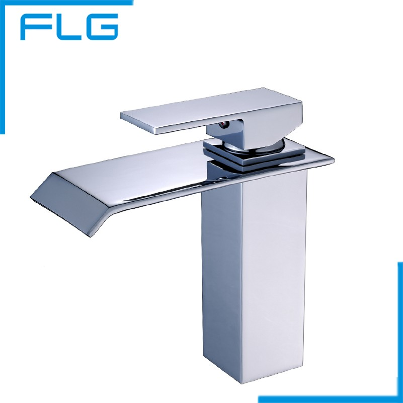 FLG Bathroom Waterfall Faucet. Deck Mounted Waterfall Brass Basin Faucet. Bathroom Mixer Tap basin sink Mixer Tap