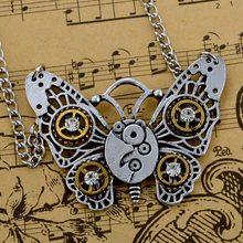 Уникальные Винтаж Бабочка Steampunk Ожерелье Серебряный Кулон Мужчины Женщины Steampunk Ювелирные Изделия Подарок