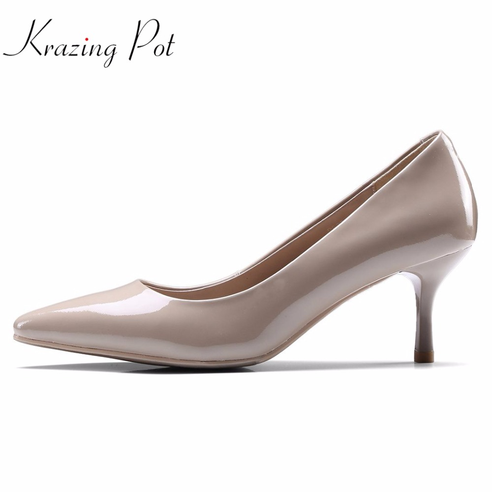 Krazing pot full grain leather fashion brand pointed toe high heels solid modern women pumps office lady simple dress shoes L05 krazing pot 2018 cow leather simple design breathable high heels hollow women pumps round toe brown white color brand shoes l92