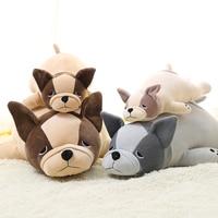 French Bulldog Schnauzer Cute Large Lying Plush Dog Toy Animals Doll Kids Toys Peluches Halloween Christmas