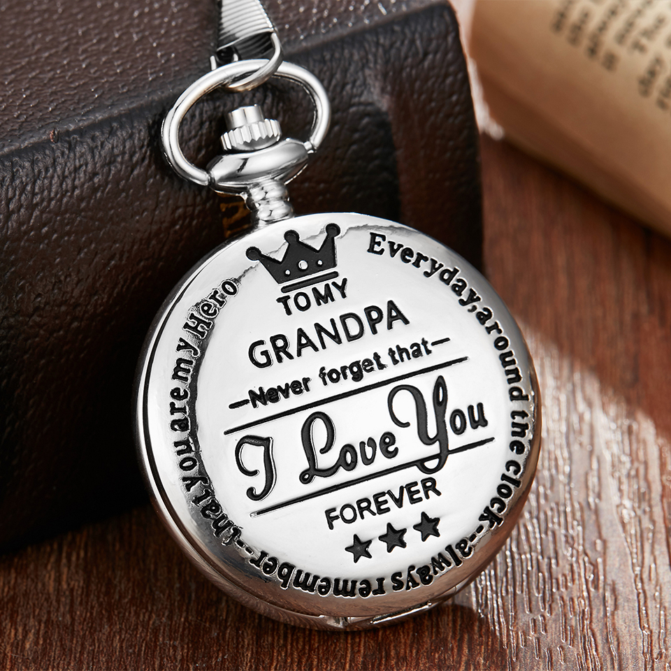 To My Grandpa Quartz Pocket Watch I LOVE YOU FOREVER Laser Engraved Necklace Chain Watches Men Clock Grandfather Birthday Gift