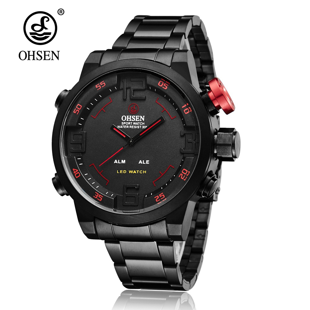 OHSEN Digital Quartz Watch Fashion Style Man Male Waterproof Watch Stainless Steel Band Mens Hombre Wristwatches Orologio Uomo