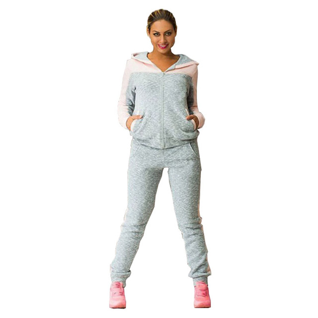 Women Two Piece Set Tracksuits For Women Top And Pants Contrast Color Long Sleeve Hoodies Sets Sweatshirt Sporting Suit Female