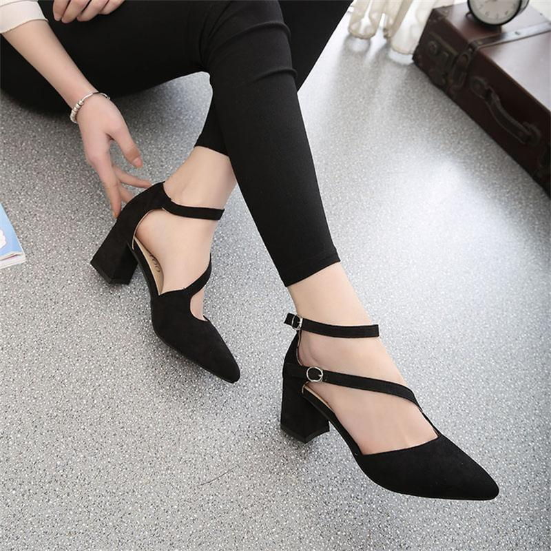Women Pumps Flock High Heels Shoes Woman Fashion 2017 Summer Leather Casual Shoes Ladies Pointed Toe Buckle Strap High Quality sweet women high quality bowtie pointed toe flock flat shoes women casual summer ladies slip on casual zapatos mujer bt123