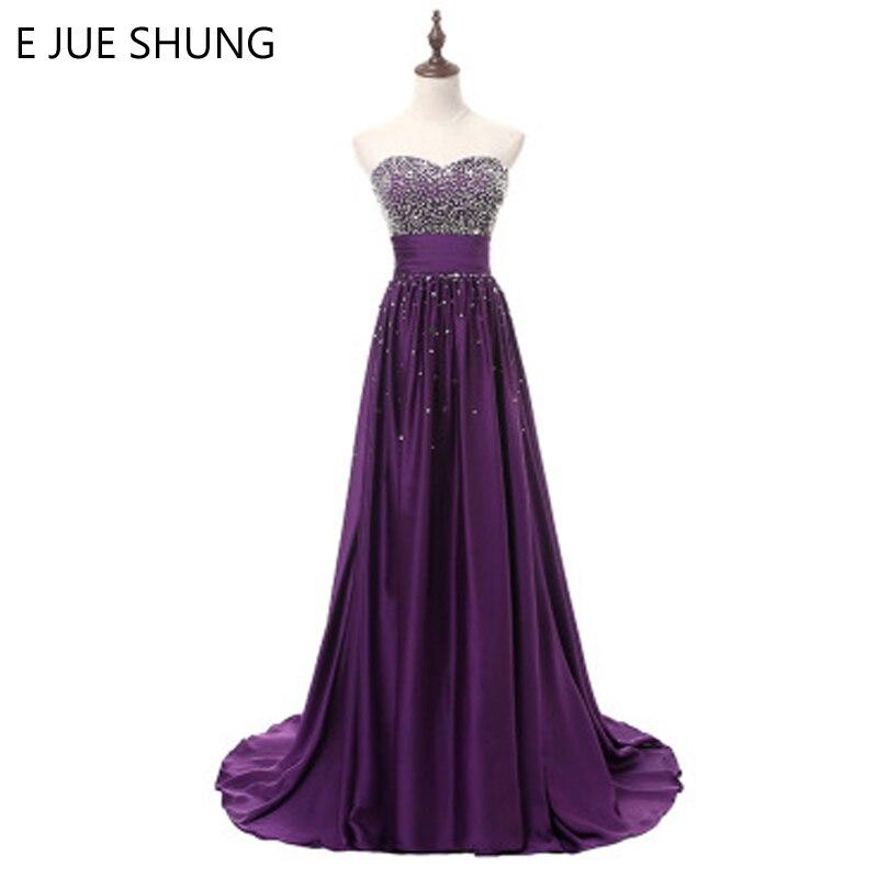 E JUE SHUNG Purple Beaded Evening Dresses Long 2018 Sweetheart Long ...