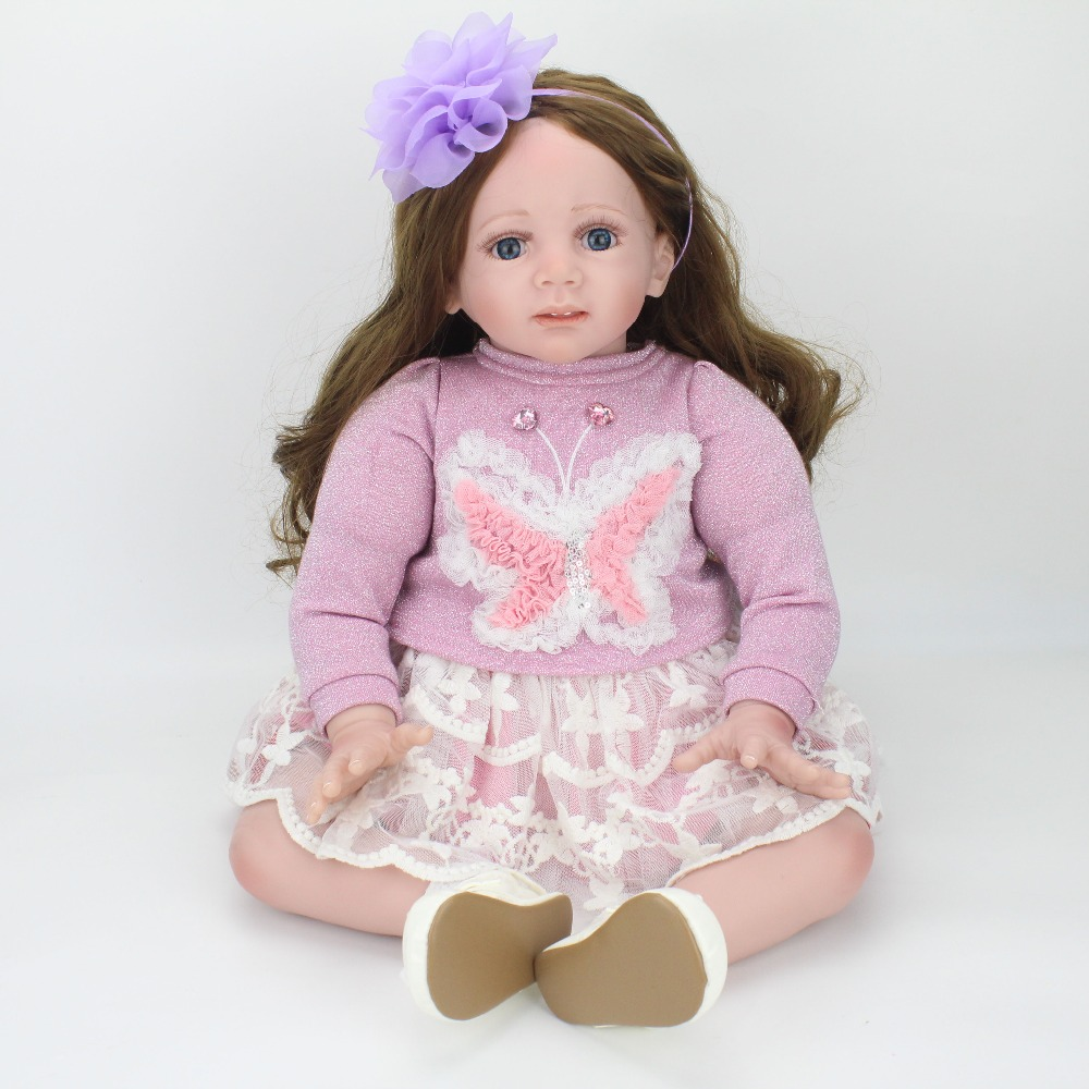 24 pouces/60 cm Baby Alive Poupée Mignon Souple En Silicone Reborn Enfants Poupées Petite Fille Jouet Avec Violet Papillon robe De Noël D'anniversaire Cadeaux