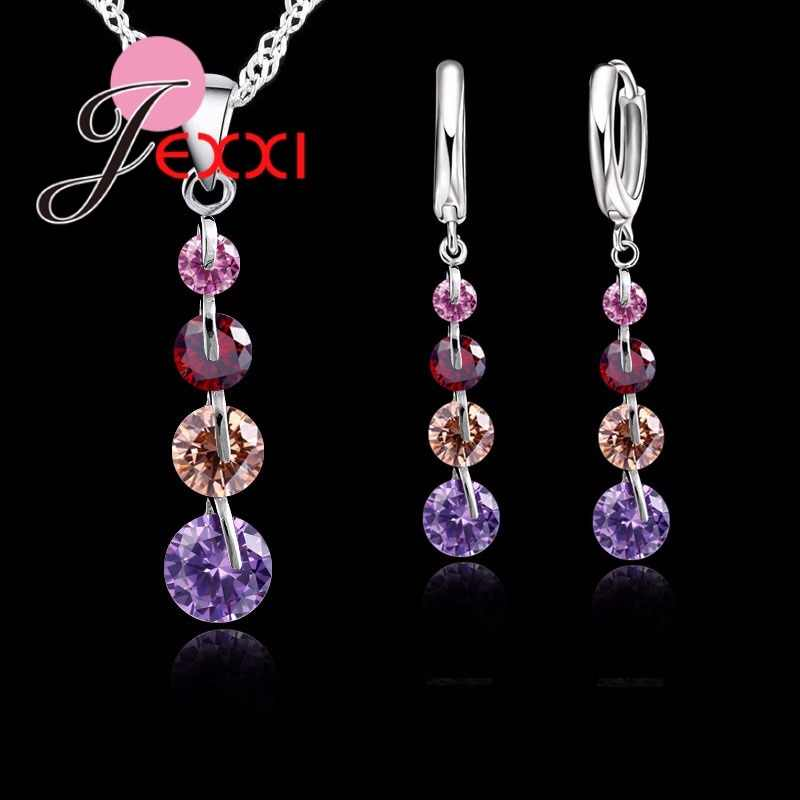 JEXXI Romantic S90 Silver Color Link Chain Crystal  Pendant Jewelry Set  For Women Choker Wedding  Jewelry Set