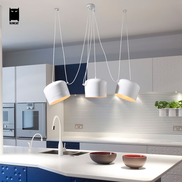 Aim Replica Drum Pendant Light Cord Adjustable Fixture Modern Nordic Hanging Lamp Lustre Avize For Dining