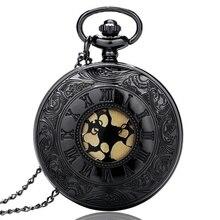 Black Roman Dial Case Quartz Vintage Antique Pocket Watch Necklace Watches with Chain P413 Half Hunter Steampunk Pendant