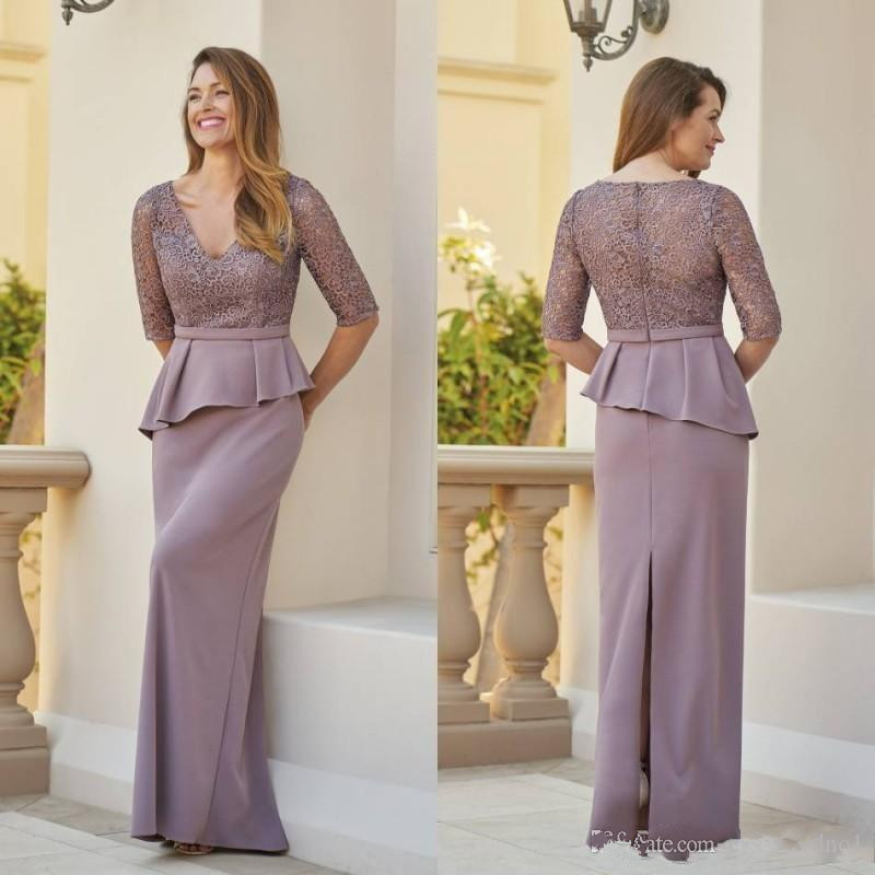 Plus Size 2019 Mother Of The Bride Dresses Sheath V-neck Half Sleeves Lace Formal Groom Long Mother Dresses For Wedding