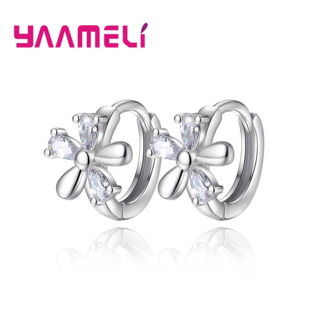 Simple Five Flowers Style Romantic Hoop Earrings Fashion 925 Silver Zircon Crystal Earrings For Women Popular Jewelry