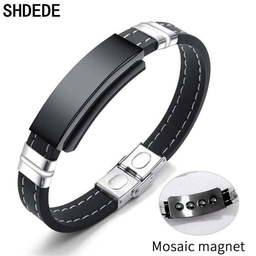 SHDEDE Hologram Healthy Bracelets Men Jewelry Magnet Hand Ornament Black Silicone Party Friendship Gift +OB1275