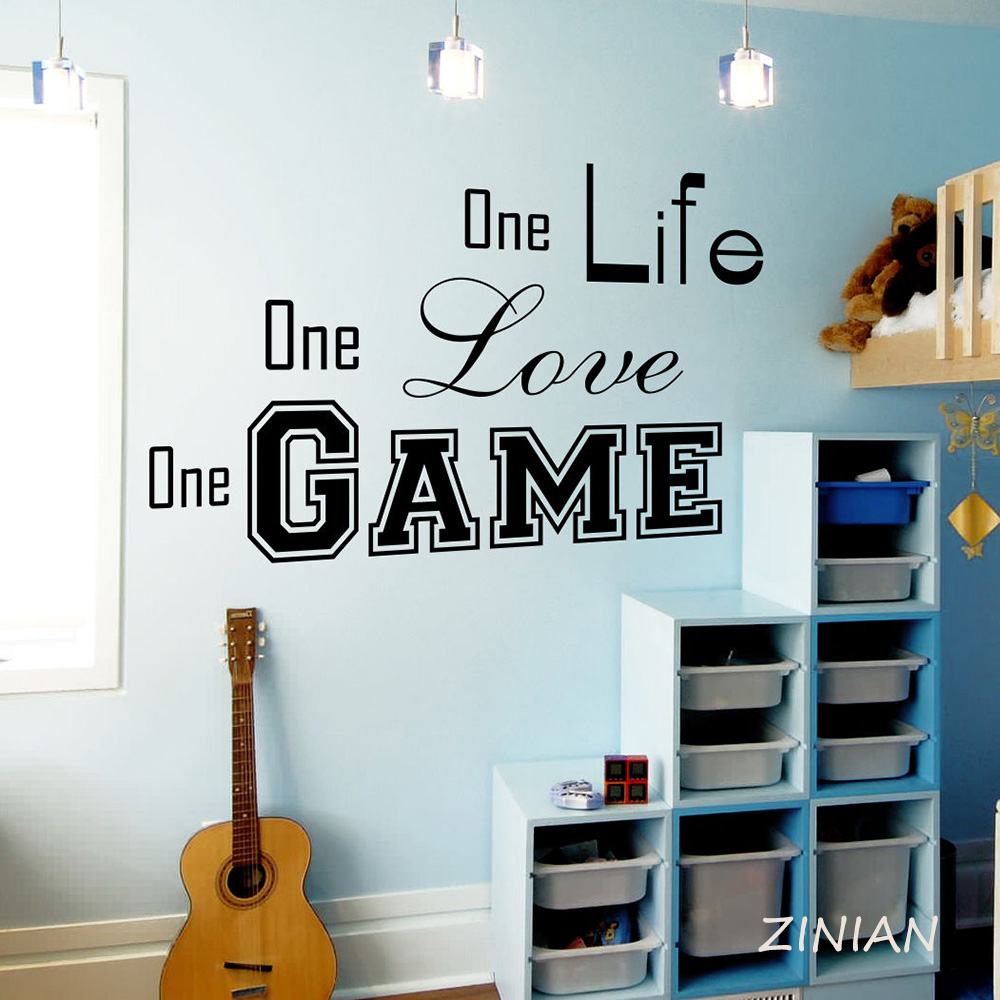 Modern Quotes Wall Stickers Sport One Life Love Game Gym Bedroom Decal Vinyl Wall Decor Teens Boys Room Decoration Mural Z534