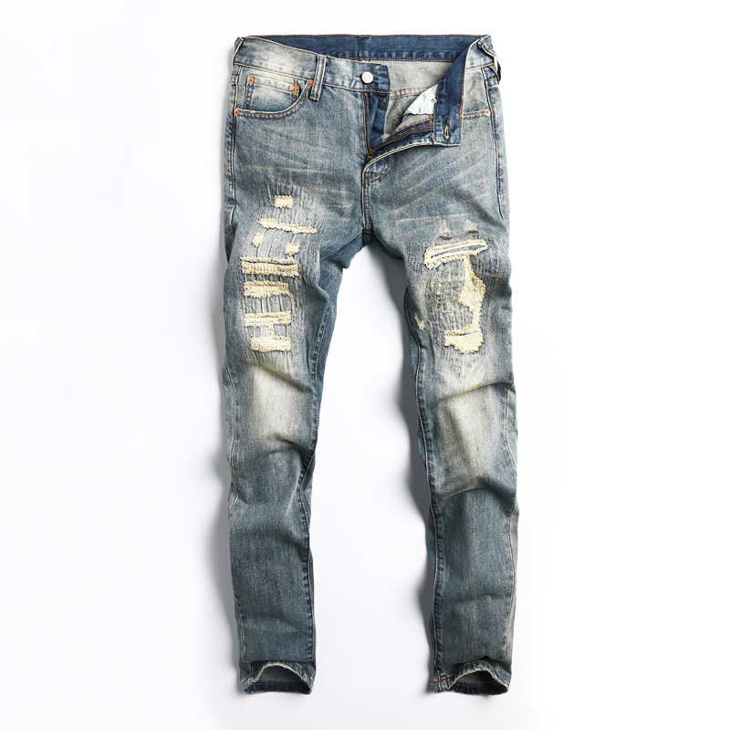 Japanese Style Fashion Men Jeans Retro Wash Destroyed Ripped Jeans For Men Patchwork Designer DSEL Brand Hip Hop Jeans Homme